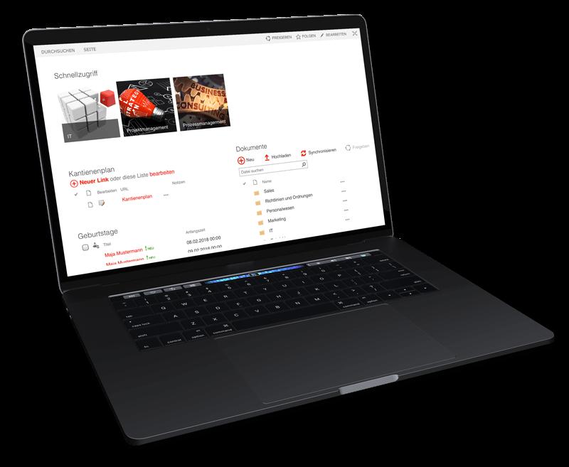 Laptop mit Darstellung einer Digitalisierungs Software