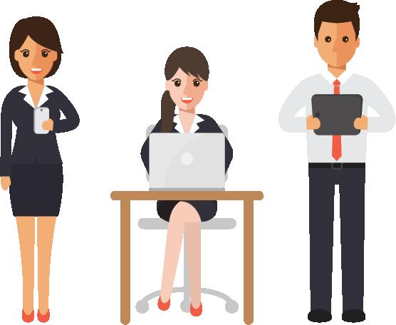 Menschen arbeiten mit Office 365 - Digitalisierung